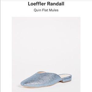 Loeffler Randall QUIN silver-blue flat mule